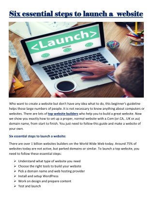 Six essential steps to launch a website