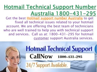Hotmail Technical Support Number Australia 1800-431-295