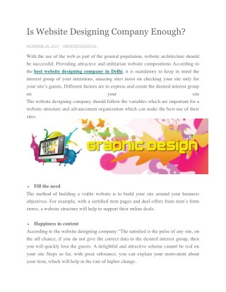 Is Website Designing Company Enough?