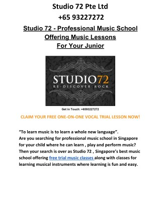 Studio 72 - Make your Junior a Rockstar