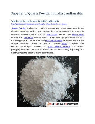 Supplier of Quartz Powder in India Saudi Arabia