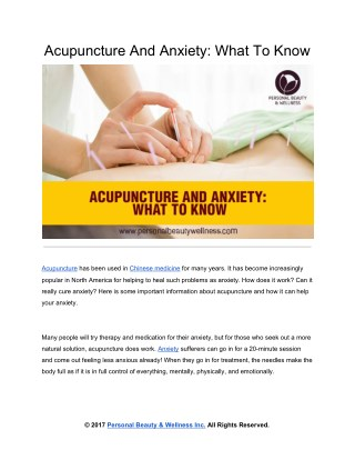 Acupuncture And Anxiety: What To Know