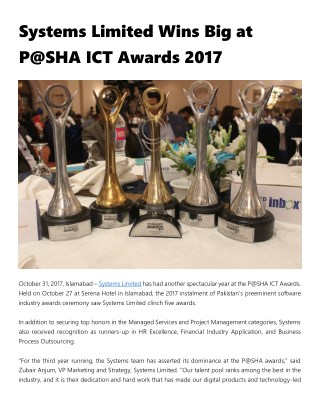 Systems Limited Wins Big at P@SHA ICT Awards 2017