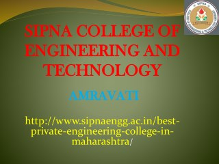 Best Private Engineering College in Maharashtra | Sipna Engineering College Amaravati