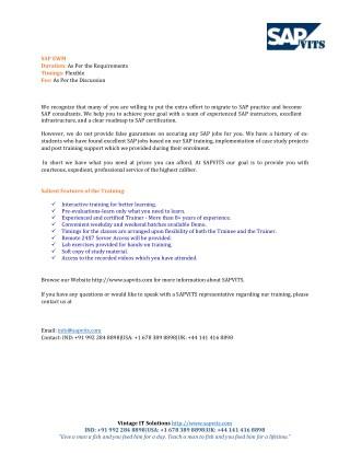 SAP EWMS Course Content PDF