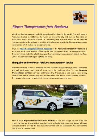 Airport Transportation from Petaluma