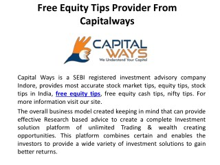Free Equity Tips Provider From Capitalways
