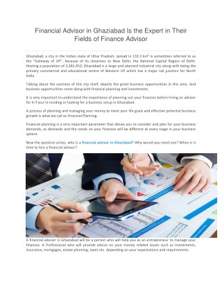Financial Advisor in Ghaziabad Is the Expert in Their Fields of Finance Advisor