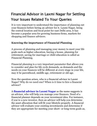 Financial Advisor in Laxmi Nagar for Settling Your Issues Related To Your Queries