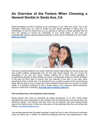 An Overview of the Factors When Choosing a General Dentist in Santa Ana, CA