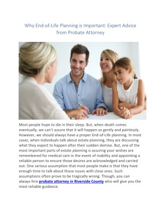 Why End-of-Life Planning is Important: Expert Advice from Probate Attorney
