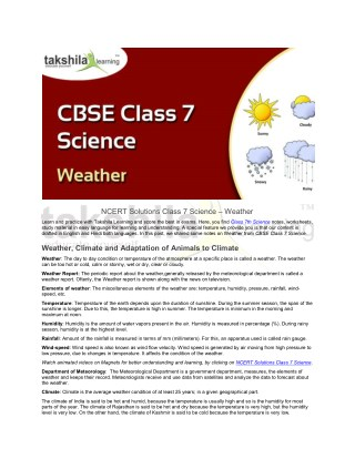CBSE / NCERT Solutions Class 7 Science - Weather