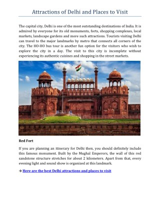 Delhi Attractions and Places to Visit
