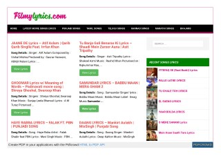 Latest movie Songs Lyrics, Hindi Movie Songs Lyrics And Video at FILMYLYRICS.COM