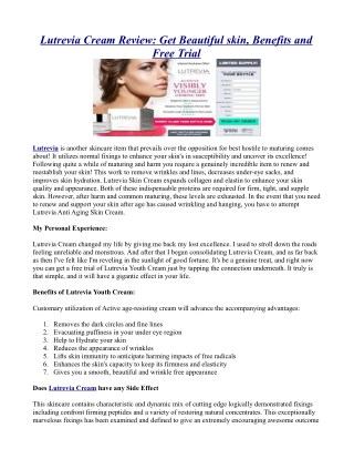 Lutrevia Cream Review: Get Beautiful skin, Benefits and Free Trial