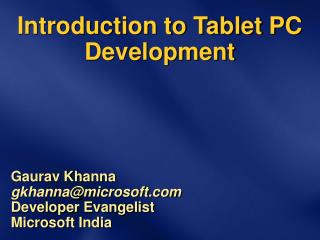 Introduction to Tablet PC Development