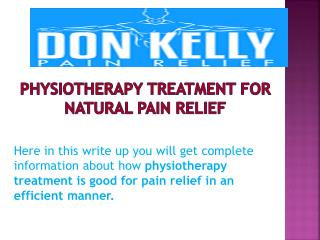 Physiotherapy Treatment For Natural Pain Relief