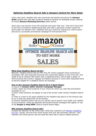 Optimize Headline Search Ads in Amazon Central for More Sales