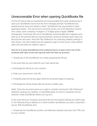 Unrecoverable Error when opening QuickBooks file