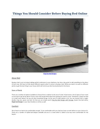 Things You Should Consider Before Buying Bed Online