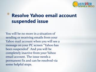 Resolve Yahoo email account suspended issue