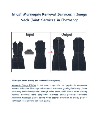 Mannequin Photo Editing | Ghost Mannequin Removal or Image Neck Joint Services