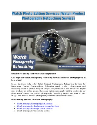 Watch Photo Editing | Retouch Watch Photography | Editing Watch Photography