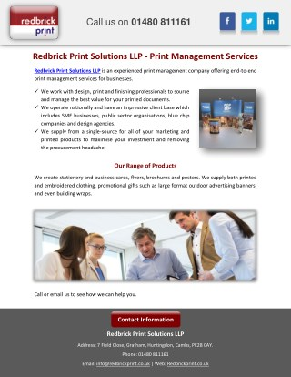 Redbrick Print Solutions LLP - Print Management Services