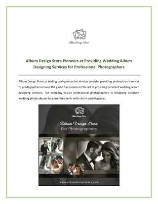 Album Design Store Providing Wedding Album Designing Services for Professional Photographers