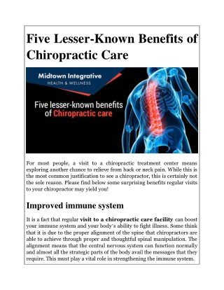 Five Lesser-Known Benefits of Chiropractic Care