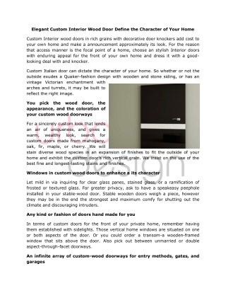 Custom luxury Italian Interior Wood Doors