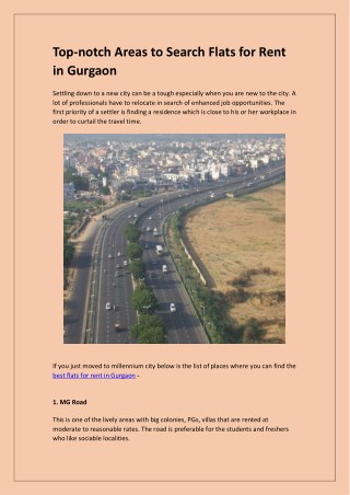 Top-notch Areas to Search Flats for Rent in Gurgaon