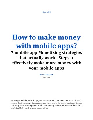 How to make money with your mobile apps