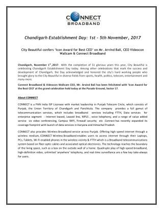 Chandigarh Establishment Day: 1st - 5th November, 2017