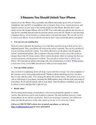 3 Reasons You Should Unlock Your iPhone