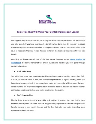 Top 5 Tips That Will Make Your Dental Implants Last Longer