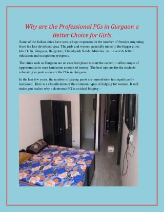 Why are the Professional PGs in Gurgaon a Better Choice for Girls