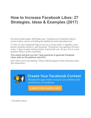How to Increase Facebook Likes 27 Strategies