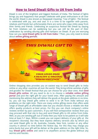 How to Send Diwali Gifts to UK from India