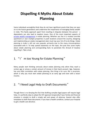 Dispelling 4 Myths About Estate Planning