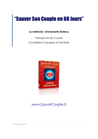 Sauver Son Couple en 60 Jours PDF Livre Télécharger | Antoinette Boileau Programme Complet ✘Avis✘