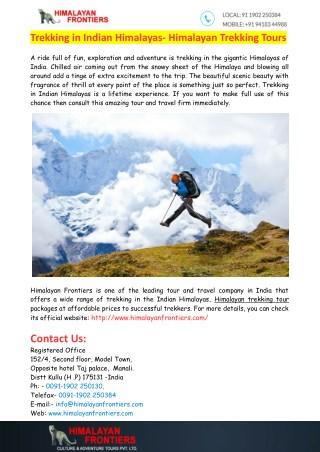 Trekking in Indian Himalayas- Himalayan Trekking Tours