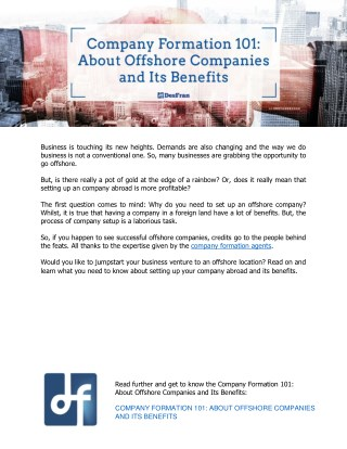Company Formation 101: About Offshore Companies and Its Benefits