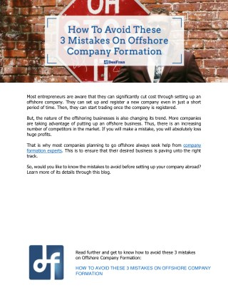 How To Avoid These 3 Mistakes On Offshore Company Formation