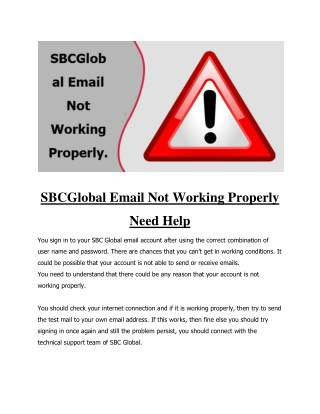 SBCGlobal Email Not Working Properly Need Help