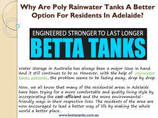 Why Are Poly RainwaterTanks A Better Option For Residents In Adelaide?