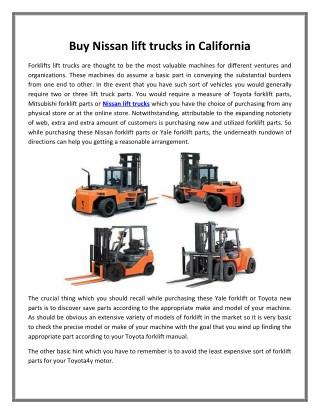 Buy Nissan lift trucks in California