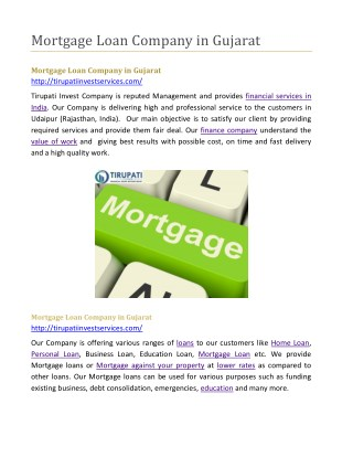 Mortgage Loan Company in Gujarat