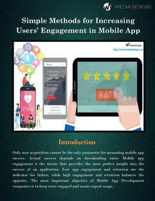 Simple Methods for Increasing Users' Engagement in Mobile App