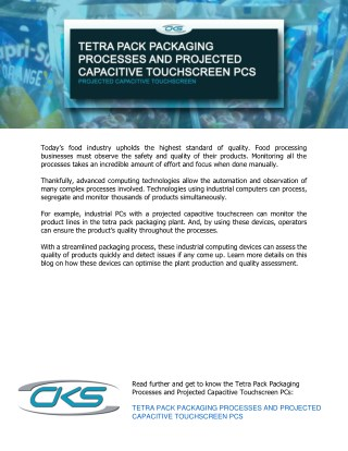 Tetra Pack Packaging Processes and Projected Capacitive Touchscreen PCs
